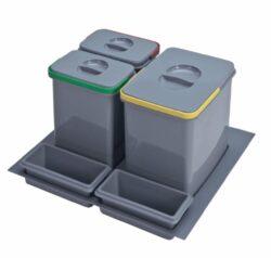 Odpadkový koš do šuplíku 600, 1x15 l + 2x7 l, šedý plast