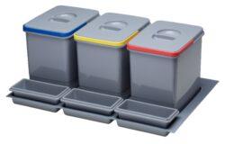 Odpadkový koš do šuplíku 600, 1x16 l + 2x7,5 l, šedý plast