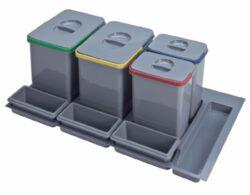 Odpadkový koš do šuplíku 900-1000, 2x16 l + 2x7,5 L, šedý plast