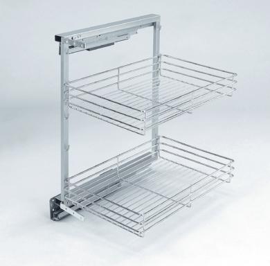 Plnovýsuvný dvojkoš boční Komfort s tlumeným dovřením Pravý, 355x470x555 mm, chr(1002974001)