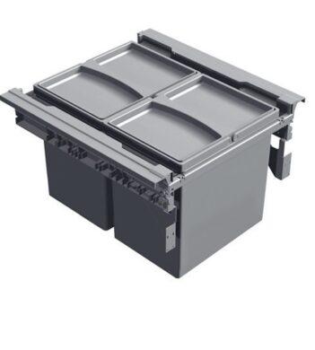Odpadkový 2-koš Vantage, 2x17 l, 390x450x298 mm, K45-šedý plast(1007103602)