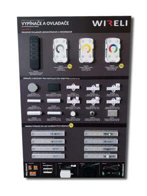 Vzorková tabule s LED vypínači a ovladači WIRELI 2021(3205170120)