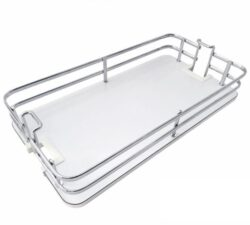 Koš Elegance pro potravinovou skříň, 300, plné dno, 255x460x95 mm, chrom