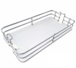 Koš Elegance pro potravinovou skříň, 400, plné dno, 340x460x95 mm, chrom