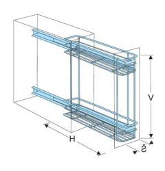 Plnovýsuvný dvojkoš boční Komfort s tlumeným dovřením - Levý, 160x485x543 mm, cr(1002248001)