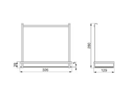 Polička Titane 326x129x280 mm, antracit(1005001602)