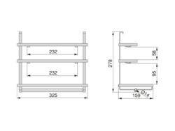 Držák rolí Titane třístupňový, 325x159x278; mm, antracit(1005003602)