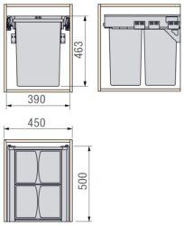 Odpadkový 2-koš Vantage, 2x29 l, 390x450x463 mm, K45-šedý plast(1007104602)