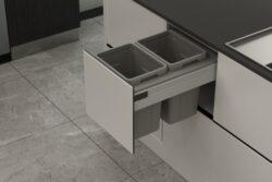 Odpadkový 2-koš Elegance, 2x13 l, 362-368x506x340, K40-šedý plast