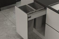 Odpadkový 2-koš Elegance, 2x27 l, 412-418x506x570, K45-šedý plast