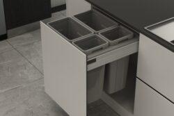 Odpadkový 4-koš Elegance, 2x27 + 2x9 l, 562-568x506x570, K60-šedý plast