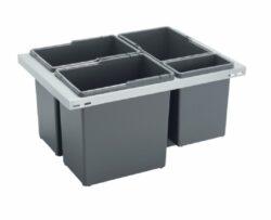 Odpadkový koš CUBE Basic 600, 3x12 l + 1x3,3 l, K60 - šedý plast