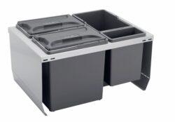 Odpadkový koš CUBE 600, 3x12 l + 1x3,3 l, K60 - šedý plast