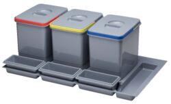Odpadkový koš do šuplíku 900, 3x15 l, šedý plast