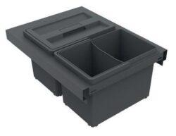 Odpadkový koš SLIM 400, 2x8 l, antracit, plast