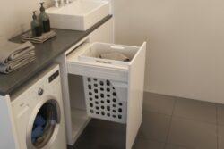 Prádelní koš Elegance, 48 l, 412-418x506x545 mm, bílý plast