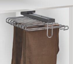 Výsuvný věšák na kalhoty Elegance - 9 ramen, 350x430x155 mm, chrom - antracit