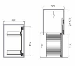 Výsuvný rám, 2 závěs police, 318x457x560 mm, pravý, hliník elox. + chrom(2005035001)