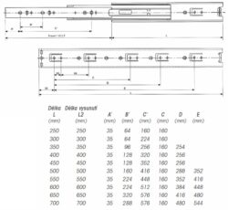 Ložiskový plnovýsuv 450mm k šatním košům(3102342004)