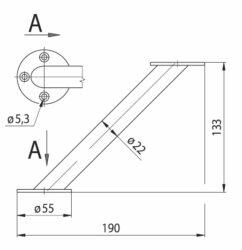 konzola rovnoběžná průměr 22x133 - chrom mat(3106050002)
