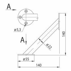 konzola úhlová průměr 22x140 - chrom mat(3106051002)