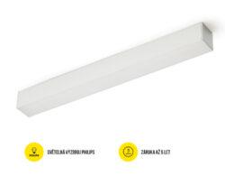 LED svítidlo přisaz PHIL53 BN 1128 mm 230V OPÁL C10C neutrál, 4400 lm stříbrná-Svítidlo do interiéru přisazené, stříbrné.