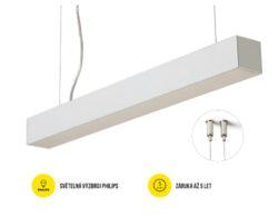 LED svítidlo závěsné PHIL53 BN 1129 mm 230V OPÁL C10C neutrál, 4400 lm stříbrná-Svítidlo do interiéru závěsné, stříbrné.
