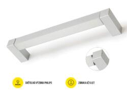 LED svítidlo přisaz.otoč PHIL53 BO 1237mm 230V OPÁL C10C neutrál 4400 lm stříbrn-Svítidlo do interiéru přisazené, otočné, stříbrné.