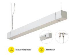 LED svítidlo závěs.otoč PHIL53 BO 1238mm 230V OPÁL C10C neutrál, 4400 lm stříbrn-Svítidlo do interiéru závěsné, otočné, stříbrné.