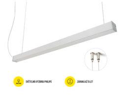 LED svítidlo závěsné PHIL53 BN IP54 1133mm 230V OPÁL C10C neutrál 4400lm stříbrn-Svítidlo do interiéru závěsné, IP 54, stříbrné.