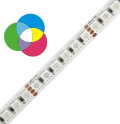 RGB LED pásek 5050 120 WIRELI 28,8W 1,2A 24V IP20-Standardní RGB LED na 24V s vyšší hustotou LED na metr. Napájení 24V umožňuje vytvářet dlouhé a plynulé světelné linie.