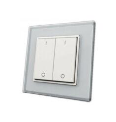 Ovladač spínač plochý dvouzónový inteligentní na stěnu                          -Pro ovládání  LED osvětlení v místnosti ve dvou zónách plochým tlačítkem - vysílač