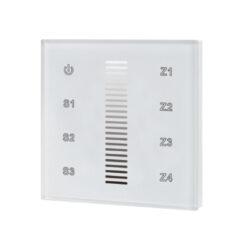 Ovladač dotykový AC 230V čtyřzónový inteligentní na stěnu bílý-Pro stmívání až čtyř nezávislých LED osvětlovacích sestav - vysílač