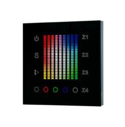 Ovladač dotykový AC 230V čtyřzónový RGBW inteligentní na stěnu černý-Pro ovládání RGBW LED světelných sestav v místnosti - vysílač