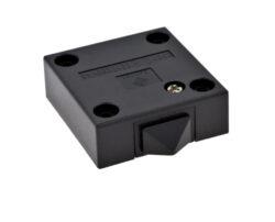 Vypínač mechanický 250V/max.2(1)A, černý-Spínač pro osvětlení vnitřního  prostoru skříně při otevření dveří
