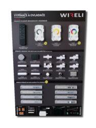 Vzorková tabule s LED vypínači a ovladači WIRELI 2021