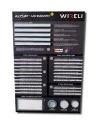 Vzorková tabule s LED pásky WIRELI 2021-Vzorková tabule s aktuální nabídkou LED psáků a bodových svítidel.