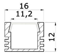 Profil PDS4 hliník anod. 16x12x2000mm (metráž)                                  (3209005609)