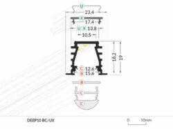 Profil WIRELI27 DEEP 10 BC/UX hliník anoda 2m(3209011120)