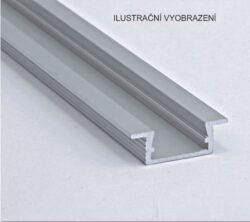 Profil WIRELI 02 ZAPUŠTĚNÁ hliník surový 26x8x2000mm (metráž)-Hliníkový LED profil k zafrézování.