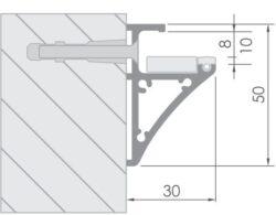 Profil WIRELI GLASS 8/10 (30X50mm)-Lze krátit, ale minimální prodejní množství 2,75 m (- případné prořezy).  Profil pro výrobu skleněných polic o síle 8 mm.
