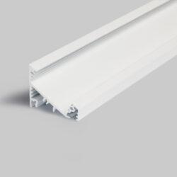Profil WIRELI CORNER27 G/UX 30/60° bílý komaxit 2m (metráž)                     -Universální přisazený úhlový  profil se svitem v úhlu 60° nebo 30°, s bohatou výbavou doplňků pro montáž a různými druhy difůzorů. Snadná práce a profesionální vzhled.