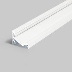 Profil WIRELI CORNER14 EF/Y 30/60° bílý komaxit 2m-Universální přisazený úhlový  profil se svitem v úhlu 60° nebo 30°, s bohatou výbavou doplňků pro montáž a různými druhy difůzorů. Snadná práce a profesionální vzhled.