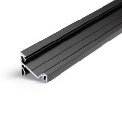 Profil WIRELI CORNER14 EF/Y černá anoda, 2m (metráž)-Universální přisazený úhlový  profil se svitem v úhlu 60° nebo 30°, s bohatou výbavou doplňků pro montáž a různými druhy difůzorů. Snadná práce a profesionální vzhled.